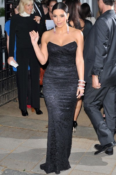 Kim Kardashian Strapless Dress Black Bodice Prom Gown Glamour Women of the Year Awards Celebrity Dress