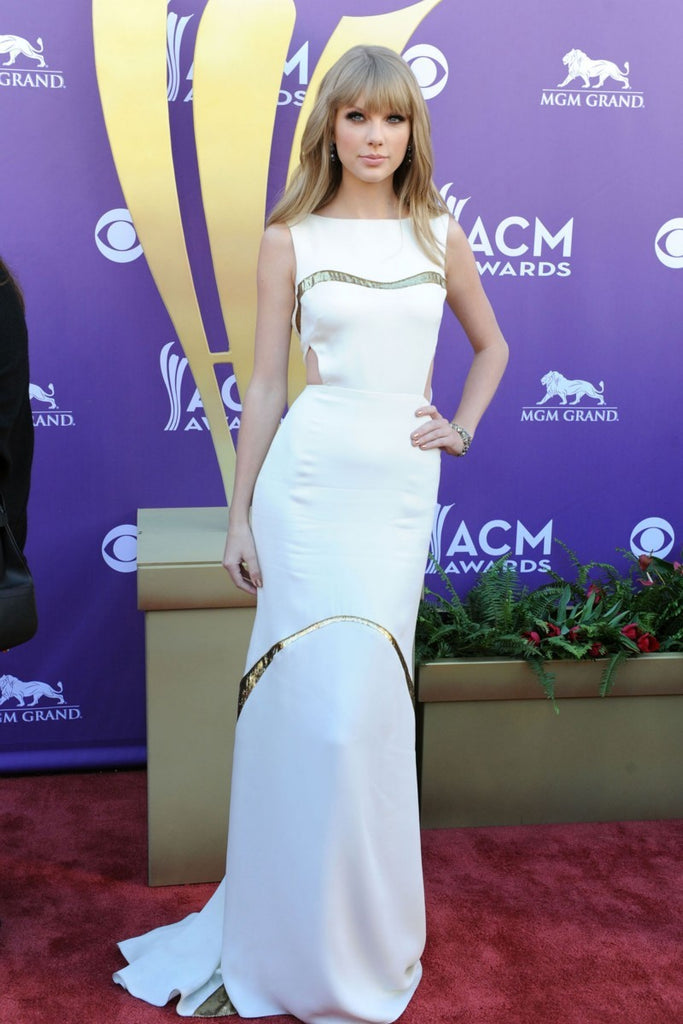 Taylor Swift White Dress Figure-hugging Boat Neck Cut Out Prom Ball Gown Celebrity Dress ACM Awards