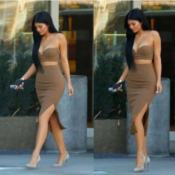 Kylie Jenner Brown Dress Bustier Side Slit Two Piece Casual Prom Celebrity Formal Evening Dress