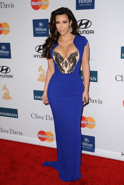 Kim Kardashian Sequins Dress Blue Sheath Prom Celebrity Evening Dress Pre-GRAMMY Gala