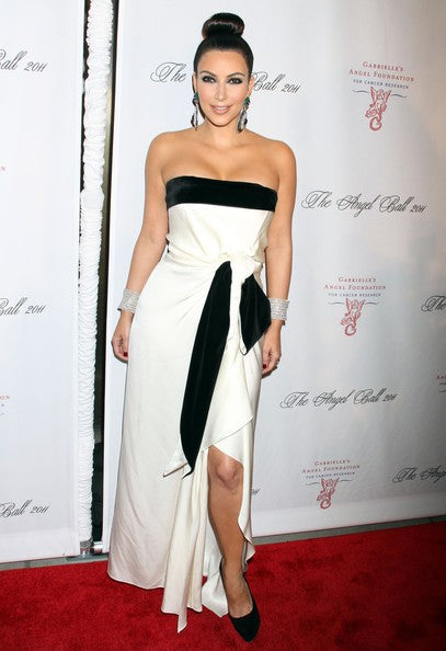 Kim Kardashian Strapless Dress White Black Slit Prom Celebrity Formal Dress Angle Ball Red Carpet