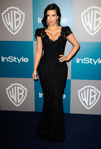 Kim Kardashian Lace Dress Black Tight-fitting Cap sleeves Prom Celebrity Ball Gown Golden Globes Party Dress