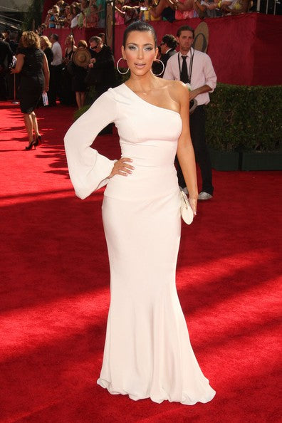 Kim Kardashian White Dress One Sleeve Mermaid Sheath Prom Gown Emmys Red Carpet Dress