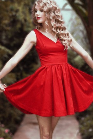 Taylor Swift Red Short Dress Satin Sweetheart Classic Prom Celebrity Party Dress