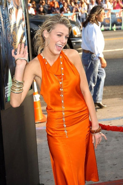 Blake Lively Orange Dress Open Back Satin Prom Celebrity Dress The Sisterhood of the Traveling Pants