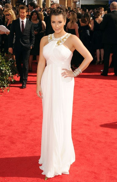 Kim Kardashian (Kim K) White Dress Halter Open Back Pleated Prom Celebrity Dress Emmys Red Carpet