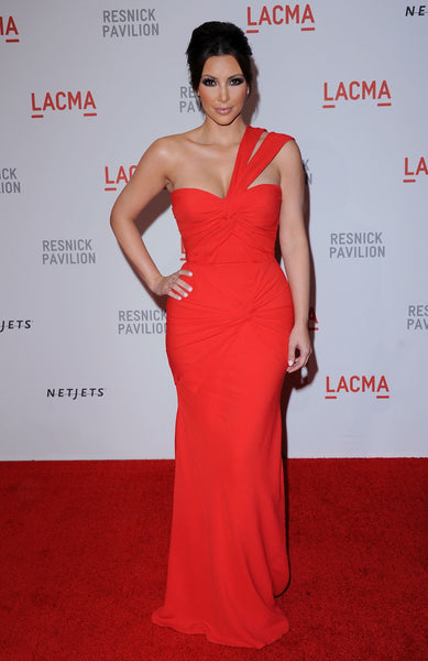 Kim Kardashian Red Dress Figure-hugging One Shoulder Prom Gown LACMA Resnick Pavilion Opening Gala Celebrity Dress