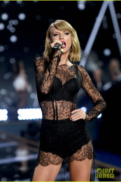 Taylor Swift Black Lace Dress High Low See-through Prom Classic Celebrity Dress Victoria Secret