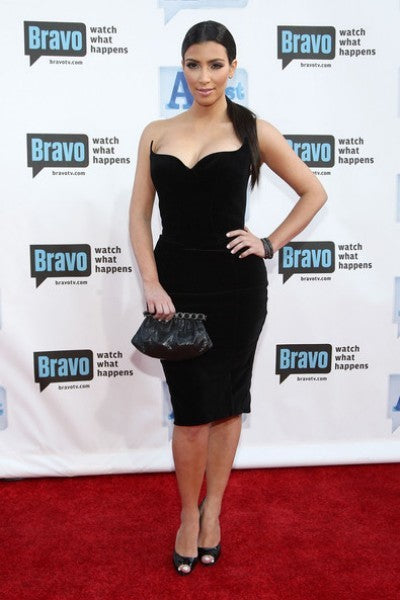 Kim Kardashian Black Velvet Dress Strapless Open Back Prom Outfit 2nd annual A-List Awards Celebrity Dress