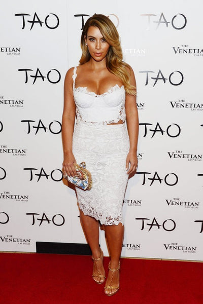 Kim Kardashian White Lace Dress Straps Two Piece Wrap Prom Gown Celebrity Dress 33rd Birthday