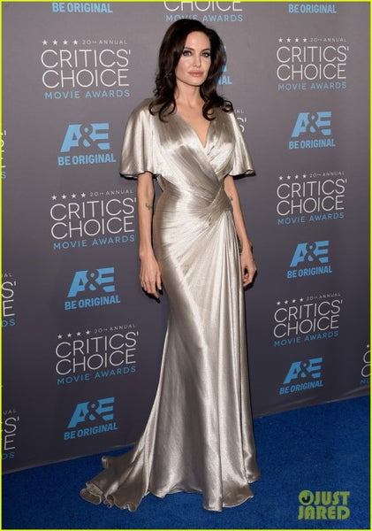 Angelina Jolie Sleek Dress Half Sleeves Sliver Critics' Choice Movie Awards Celebrity Formal Gowns
