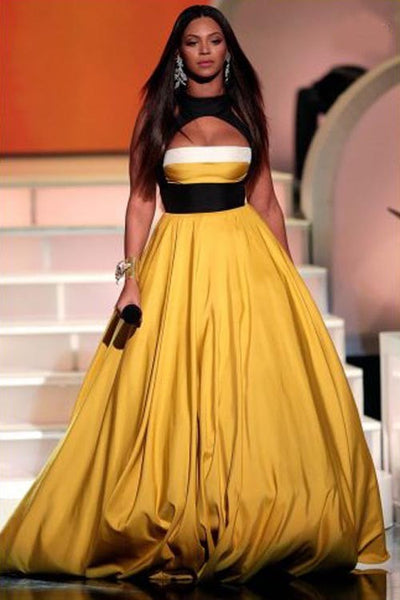 Beyonce Knowles Halter Dress Yellow Cocktail Movies Rock Celebrity Evening Ball Gowns