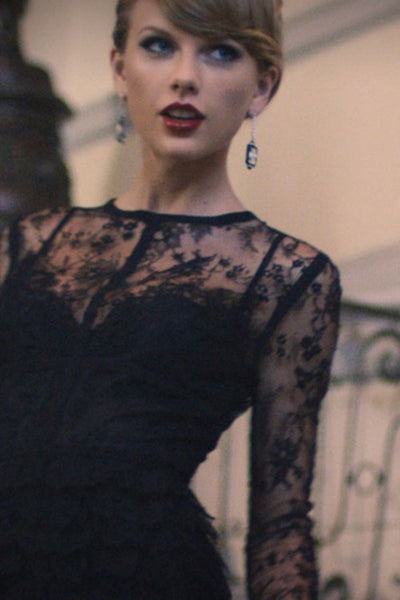 Taylor Swift Lace Dress Sheath Black Sexy Prom Ball Gown Blank Space Celebrity Dress