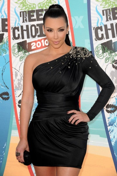 Kim Kardashian Black Dress Sequins Wrap Short Empire Waist Prom Gown Teen Choice Awards Celebrity Dress