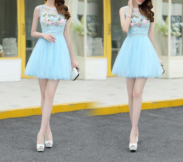 Blue Appliques Strapless Short Homecoming Dress