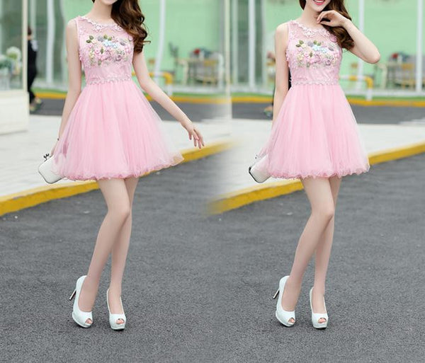 Pink Appliques Strapless Short Homecoming Dress