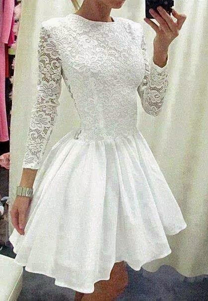 White Long Sleeves Lace Chiffon Homecoming Dress