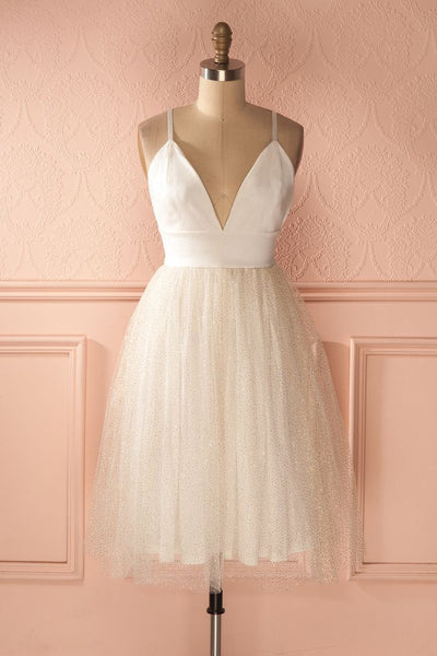 White Deep V Neck Chiffon Homecoming Dress