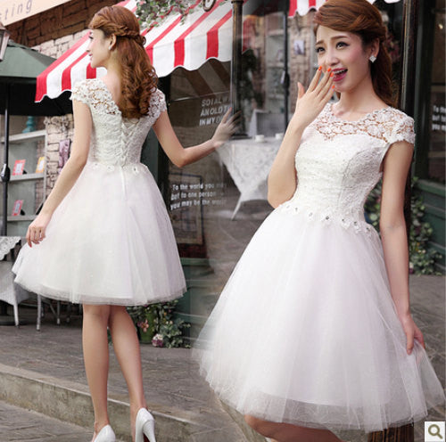 White Lace Tulle A Line Homecoming Dress