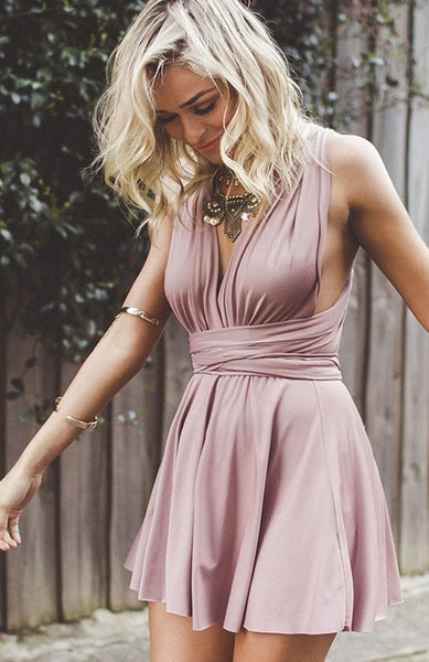Pink Deep V Neck Strapless Homecoming Dress