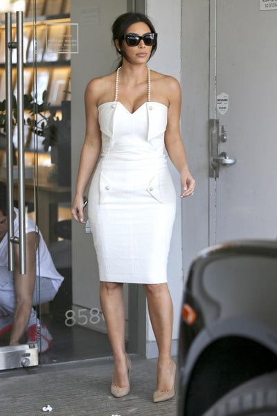 Kim Kardashian Halter Dress White Wrap Pockets Prom Celebrity Dress Bridal Shower