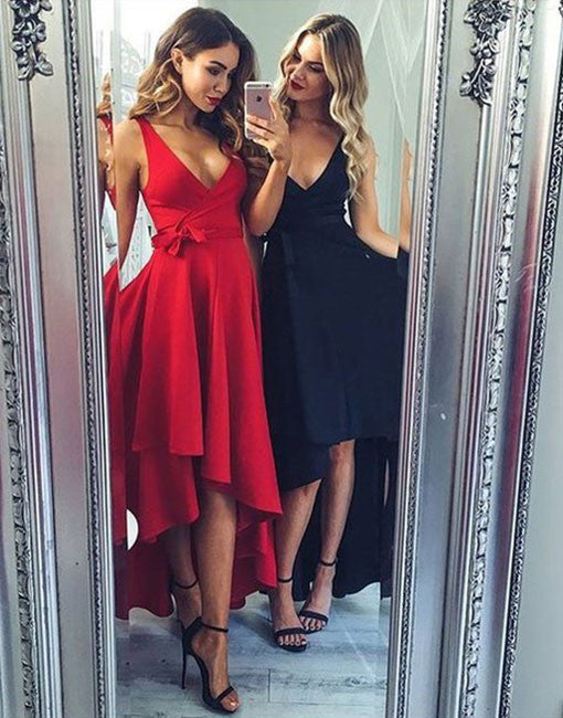 Red Deep V Neck High Low Homecoming Dress