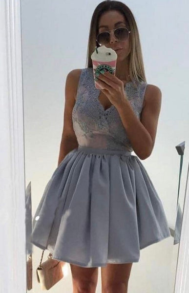 Gray Sequins Deep V Neck Homecoming Dress