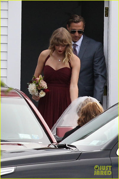 Taylor Swift Bridesmaid Wedding Dress Burgundy Open Back Prom Celebrity Gown