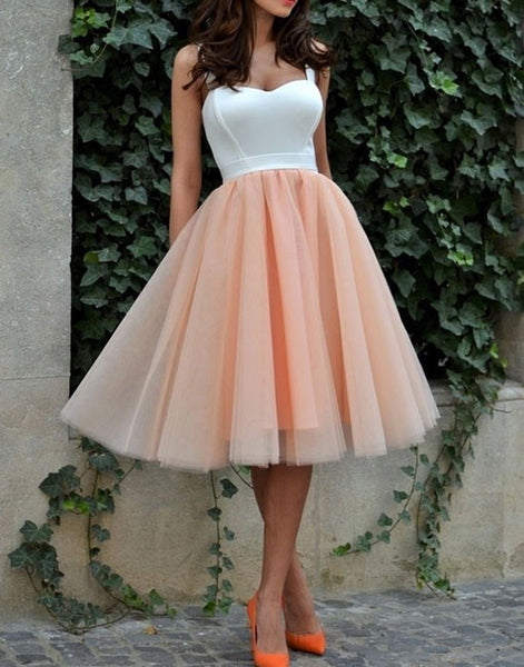 Pink Tulle Off Shoulder Homecoming Dress