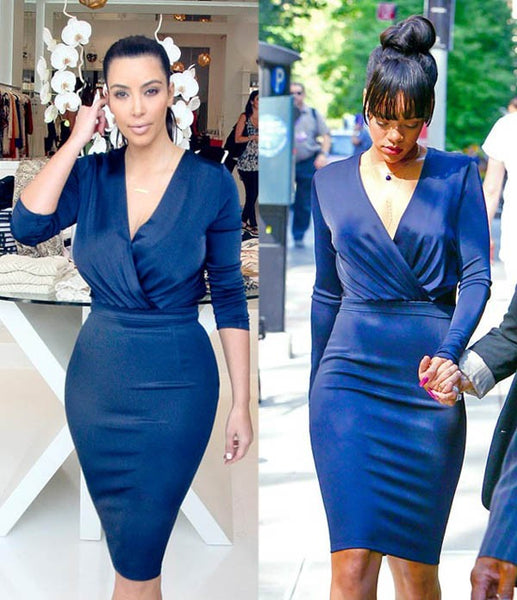 Kim Kardashian Tight-fitting Dress Satin Long Sleeves Prom Ball Gown Celebrity Party Dress