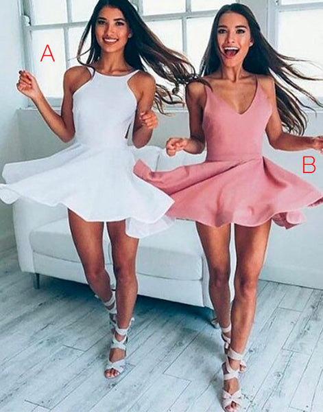 Color Pink Cute Short Homecoming Dress