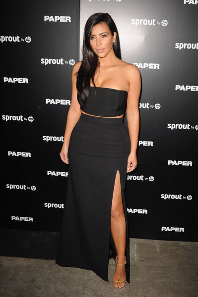 Kim Kardashian Two Piece Dress Strapless Black Prom Celebrity Gown Break The Internet Issue Release Party Dress