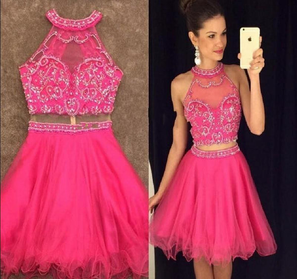 Pink Halter Tulle Beadings Homecoming Dress