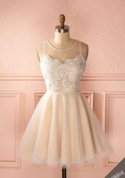 White Lace Tulle trapless Homecoming Dress