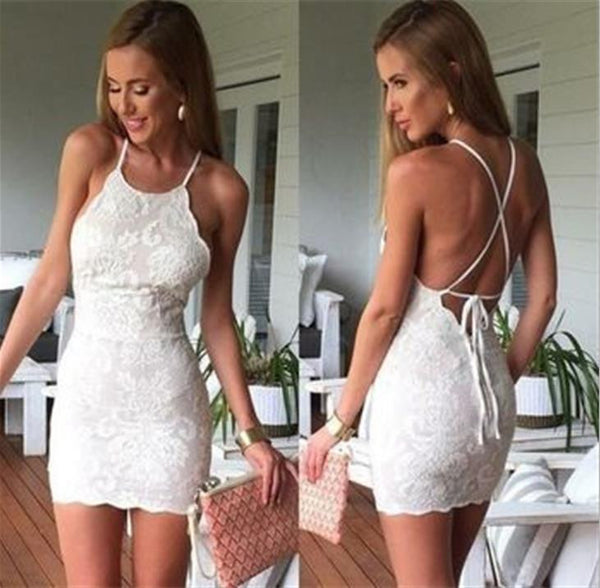 Strap Back Lace Tight Homecoming Dress