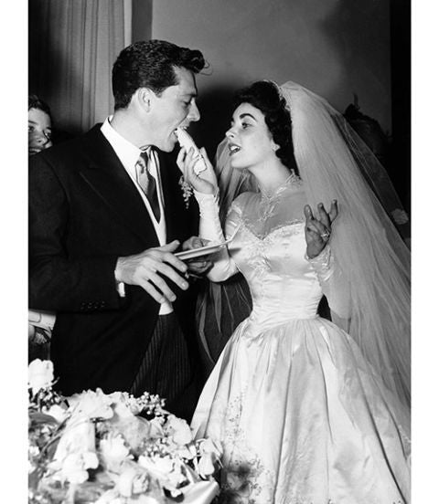 Elizabeth Taylor White Wedding Dress Empire Waist Lace High Neck Prom Celebrity Bridal Gown