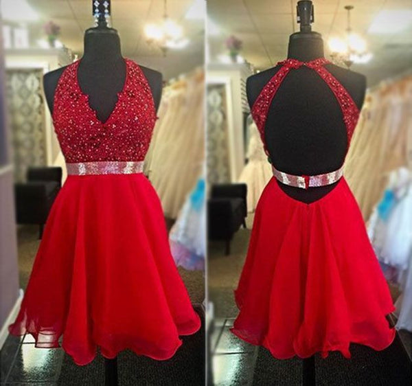 Red Deep V Neck Beadings Chiffon Homecoming Dress