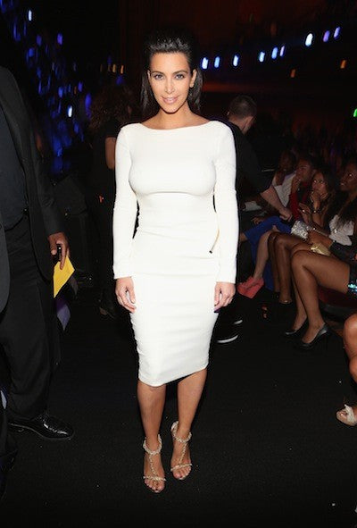 Kim Kardashian Tight Dress White Boat Neck Open Back Prom Ball Gown BET Awards Celebrity Dress
