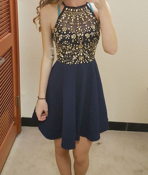 Navy Blue Halter Crystal Strapless Homecoming Dress