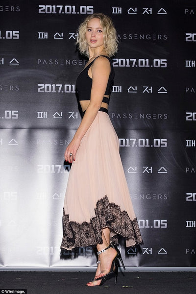 Jennifer lawrence Two piece Dress Black Pink V Neck Passengers' Photocall in Seoul Prom Celebrity Dress