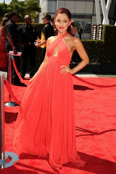 Ariana Grande Chiffon Dress Red Keyhole Open Back Halter Prom Dress Primetime Creative Arts Red Carpet