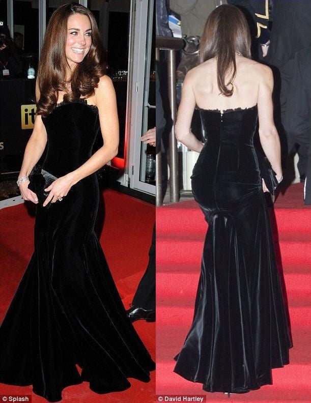 Kate Middleton Velvet Dress Black Mermaid Strapless Prom Celebrity Evening Dress Imperial War Museum Red Carpet