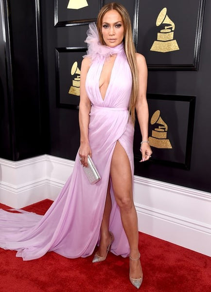 Jennifer Lopez (J.Lo) Purple Dress V Neck High Slit Nude Backless Prom Gown Grammys Red Carpet