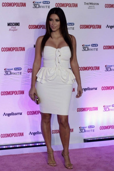 Kim Kardashian Strapless Dress White Peplum Sheath Prom Celebrity Dress Anniversary of Cosmopolitan Magazine Red Carpet