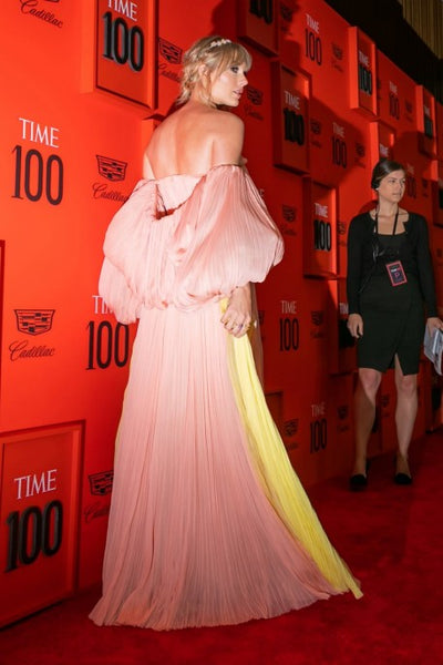 Taylor Swift Pink Sweetheart Dress Pleated Off the Shoulder Applique Prom Gown Time 100 Gala Red Carpet