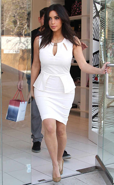 Kim Kardashian White Dress Figure-hugging Knee Length Sleeveless Prom Celebrity Dress