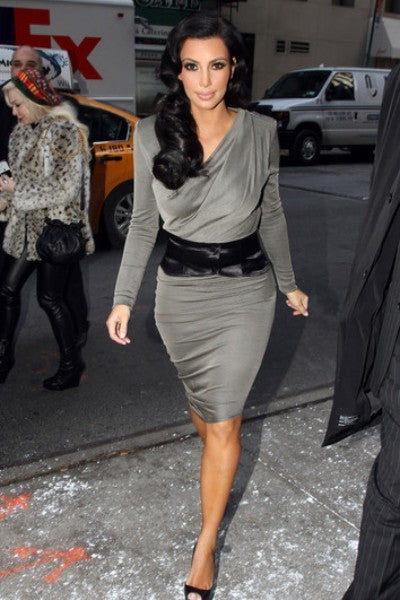 Kim Kardashian Silver Dress Classic Prom Celebrity Wrap Dress Dress The World's Best Couple
