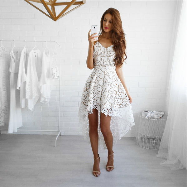 High Low Ivory Homecoming Dress, Straps Homecoming Dress Free Fast Shipping