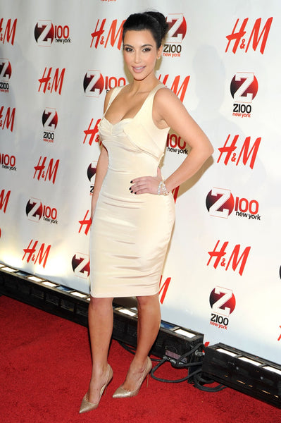 Kim Kardashian Wrap Dress White Straps A Line Prom Ball Gown Celebrity Dress Jingle Ball Red Carpet