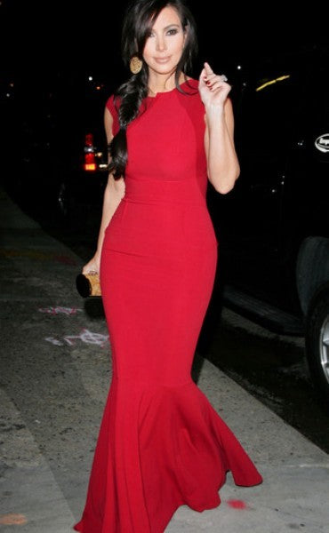 Kim Kardashian Red Mermaid Dress Figure-hugging Prom Game Changers Awards Celebrity Dress
